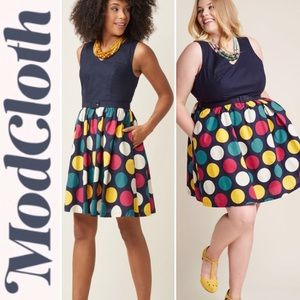 ModCloth Take Up Space A-Line Dress in Dots